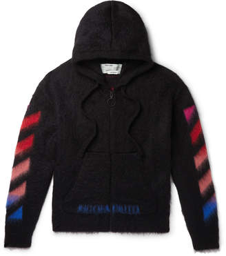 Off-White Off White Printed Brushed Mohair-Blend Zip-Up Hoodie - Men - Black