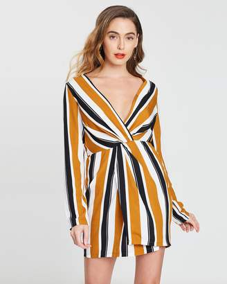 Missguided Striped LS Wrap Front Dress