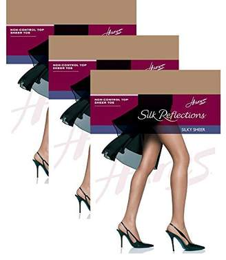 Hanes Women`s Set of 3 Silk Reflections Non-Control Top Sheer Toe Pantyhose EF