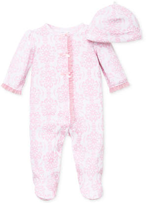 Little Me Baby Girls Damask Scroll Hat & Coverall Set