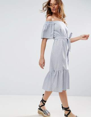 ASOS Off Shoulder Cotton Midi Dress in Stripe $58 thestylecure.com