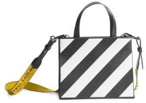 Off-White Small Striped Leather Box Bag