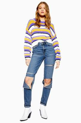 be16340acdc Topshop Womens Mid Stone Super Rip Mom Jeans - Mid Stone