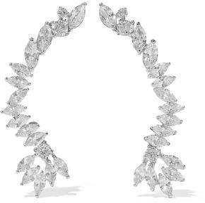 Kenneth Jay Lane Cz By Silver-Tone Crystal Clip Earrings