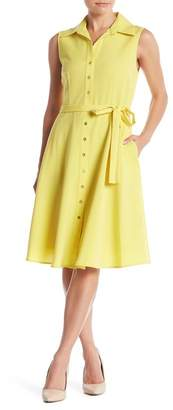 Sharagano Sleeveless Button Front Tie Dress