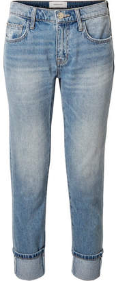 Current/Elliott The Fling Distressed Low-rise Slim Boyfriend Jeans - Mid denim