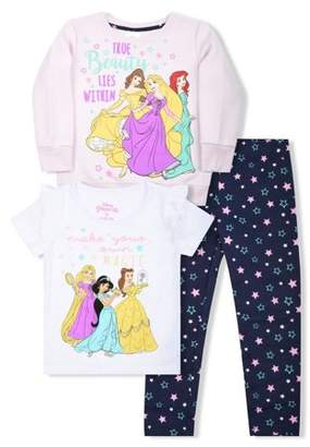 Disney Princess Graphic Sweatshirt, T-Shirts, And Legging, 3-Piece Outfit Set (Little Girls)