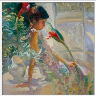 Jonathan Bass Studio Hawaiian Floral, Decorative Framed Hand Embellished Canvas