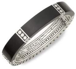 John Hardy Embossed Sterling Silver & Ebony Wood Cuff Bracelet