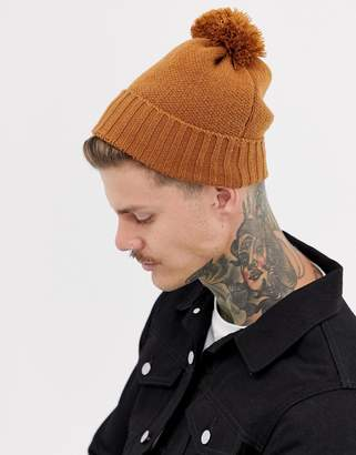 Asos Design DESIGN bobble beanie in tobacco recycled polyester