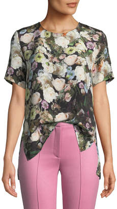 ADAM by Adam Lippes Crewneck Short-Sleeve Floral-Print Silk Crepe Top