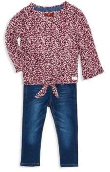 7 For All Mankind Baby Girl's Two-Piece Floral Tie Top & Jeans Set