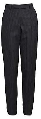Dries Van Noten Women's Straight-Leg Wool Pinstripe Flat Pants