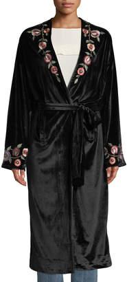 Tularosa Samantha Floral-Embroidered Velvet Overcoat
