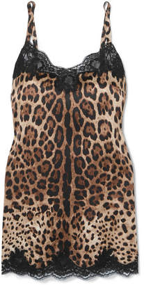4b735d5bd833f Dolce   Gabbana Lace-trimmed Leopard-print Stretch-silk Satin Chemise -  Leopard