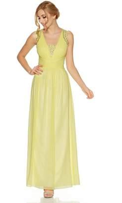 Quiz Lemon Chiffon Embellished V Neck Maxi Dress