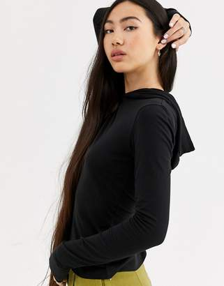 Weekday Andie hooded long sleeve top in black