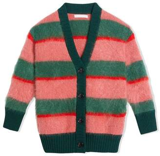 Burberry Tri-tone Striped Mohair Blend Cardigan