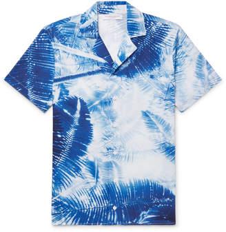 Orlebar Brown Travis Slim-Fit Camp-Collar Printed Slub Cotton and Linen-Blend Shirt