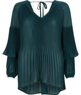 River Island Womens Green plisse long frill sleeve top