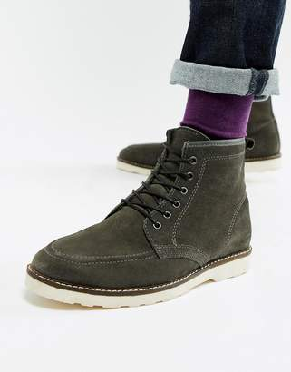 2a948b7b45a Asos Design DESIGN lace up boots in grey suede with white wedge sole