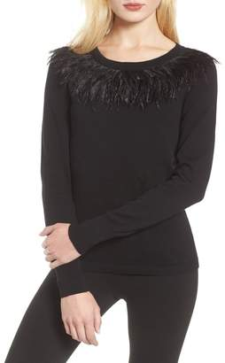 Vince Camuto Ostrich Feather Collar Sweater