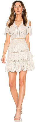 Rebecca Taylor Eliza Cold Shoulder Lace Dress in White $695 thestylecure.com