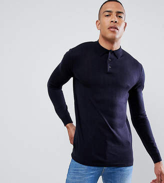 French Connection TALL Fine Guage long Sleeve Polo