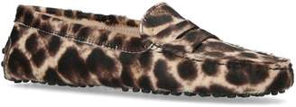 Tod's Leopard Haircalf Loafers