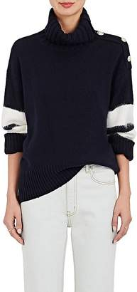 TOMORROWLAND Women's Stripe-Sleeve Wool-Blend Turtleneck Sweater