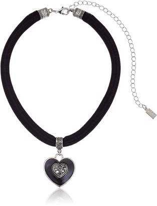 Michael Kors 1928 Jewelry Velvet with Hand Enameled Crystal Heart Pendant Choker Necklace