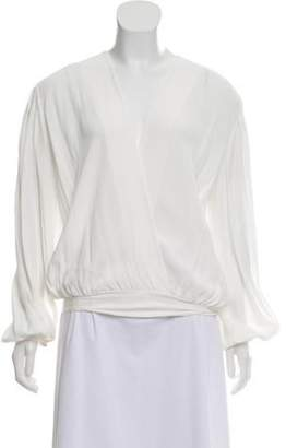 Elisabetta Franchi Plunging Neck Long Sleeve Bodysuit White Plunging Neck Long Sleeve Bodysuit