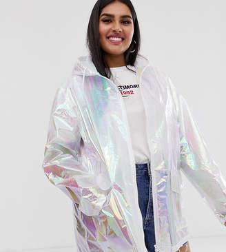 Brave Soul Plus rain mac in pearlescent white