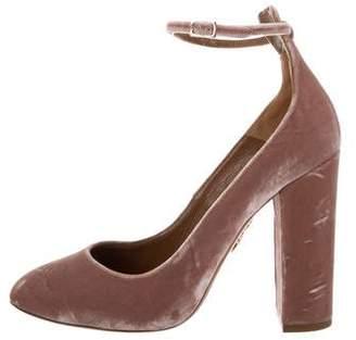 Aquazzura Velvet Ankle Strap Pumps