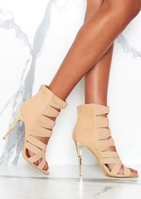 6ac0185ae5f Missy Empire Missyempire Cora Beige Bandage Detail Heels