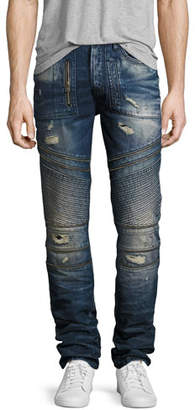 PRPS Demon Distressed Moto Slim-Straight Jeans, Camping (Dark Blue)