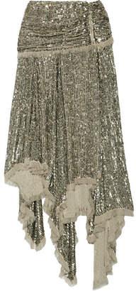 Folly Asymmetric Sequined Chiffon Midi Skirt - Silver