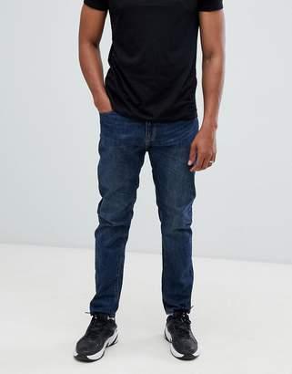 Bershka straight fit jeans in dark blue