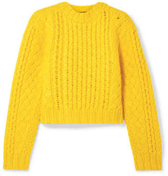 R 13 Cropped Cable-knit Wool Sweater - Yellow
