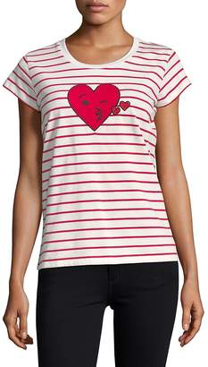 French Connection Women's Striped Heart Tee