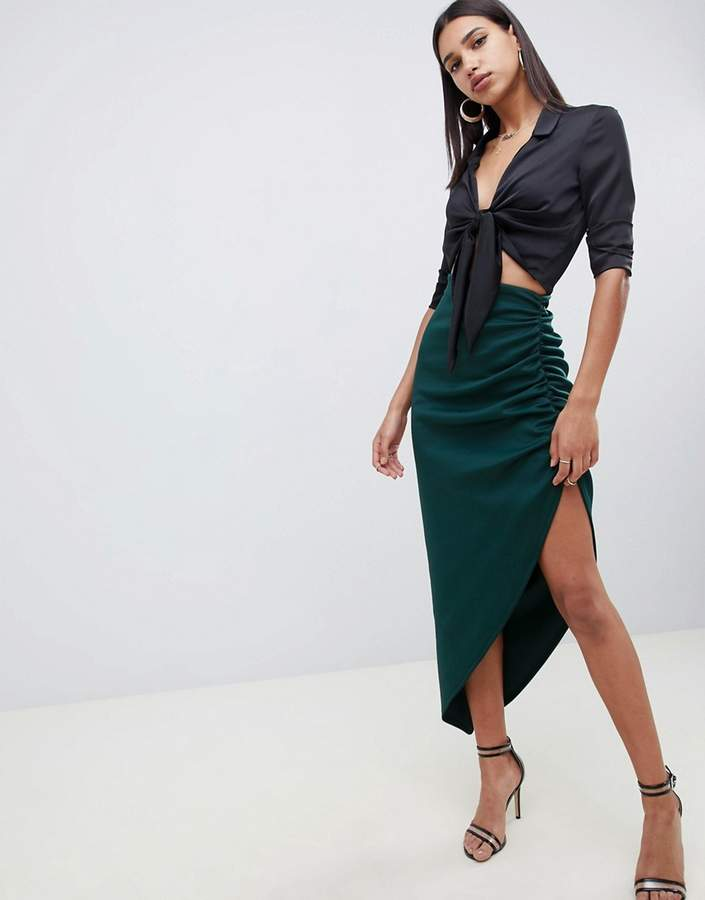 ASOS DESIGN scuba tube maxi skirt with ruching detail