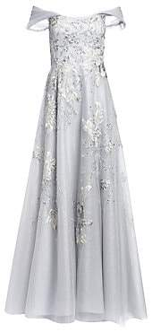 Teri Jon by Rickie Freeman Women's Off-The-Shoulder Floral-Embroidered Lace & Tulle A-Line Gown