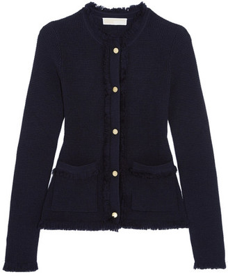 MICHAEL Michael Kors - Fringed Milano-knit Merino Wool Cardigan - Midnight blue $210 thestylecure.com