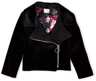 Zoë Ltd Girls 4-6x) Velvet Asymmetrical Motorcylce Jacket