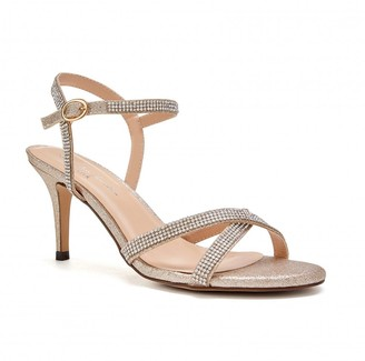 2037085521b Paradox London Riva Champagne Low Heel Ankle Strap Sandals