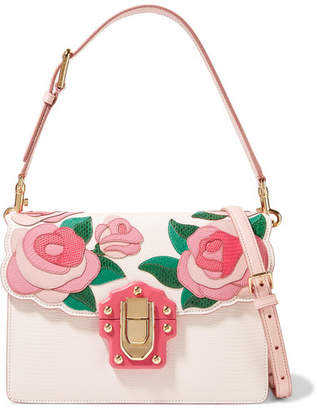 Dolce & Gabbana Lucia Appliquéd Ayers And Lizard-effect Leather Shoulder Bag - Pastel pink