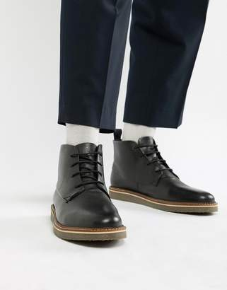 Dune Lace Up Boots With Pebble Grain In Black