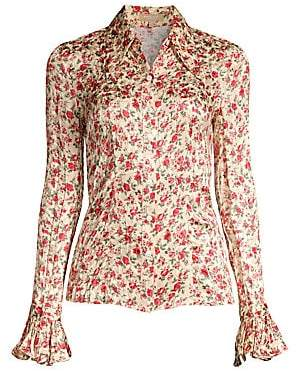 Michael Kors Women's Crushed Silk Floral Bell-Sleeve Shirt