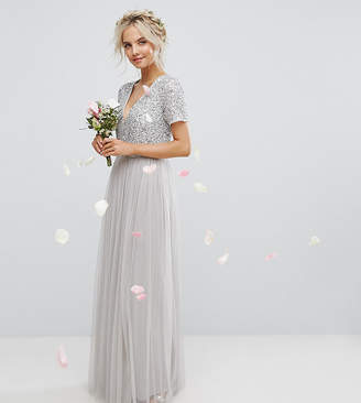Maya Petite Plunge Neck Embellished Top Maxi Dress With Tulle Skirt
