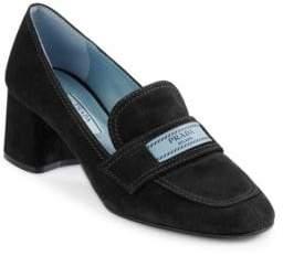 Prada Suede Heeled Loafers